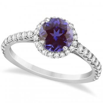 Halo Alexandrite & Diamond Engagement Ring  14K White Gold 2.36ct