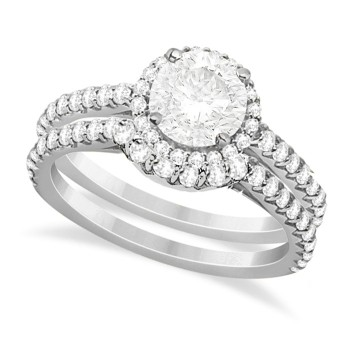 Halo Diamond Bridal Set w/ Side Stones 14K White Gold (1.33ct)