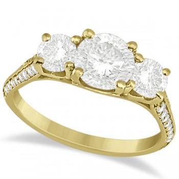 3 Stone Diamond Engagement Ring w/ Side Stones 14K Yellow Gold 2.00ct