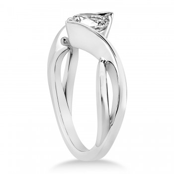 Diamond Twisted Engagement Ring 14k White Gold
