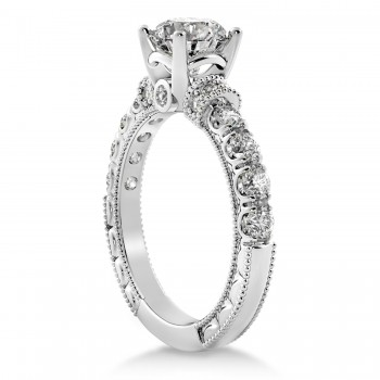 Diamond Vintage Style Engagement Ring 14k White Gold (0.52ct)