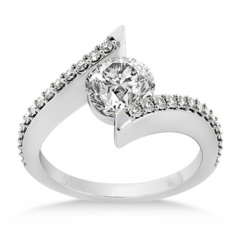 Diamond Bypass Tension Set Engagement Ring 14k White Gold (0.28ct)