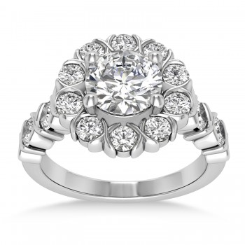 Diamond Petal Styled Engagement Ring 14k White Gold (1.00ct)
