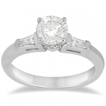 Diamond Baguette Engagement Ring & Wedding Band Set 14K White Gold (0.60ct)