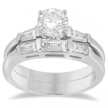 Diamond Baguette Engagement Ring & Wedding Band Set in Platinum (0.60ct)