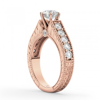 Vintage Diamond Engagement Ring Setting 18k Rose Gold (1.05ct)