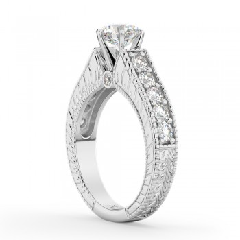 Vintage Diamond Engagement Ring Setting 18k White Gold (1.05ct)