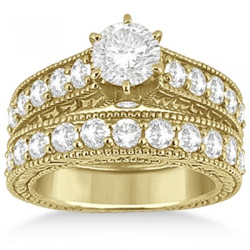 Antique Diamond Wedding & Engagement Ring Set 14k Yellow Gold (2.15ct)