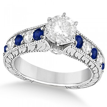 Antique Diamond & Blue Sapphire Bridal Ring Set 14k White Gold (3.87ct)
