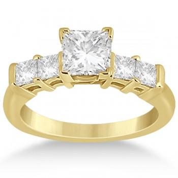 5 Stone Princess Cut Diamond Engagement Ring 14K Yellow Gold (0.40ct)
