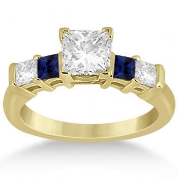 5 Stone Diamond & Blue Sapphire Bridal Set 18k Yellow Gold 1.02ct