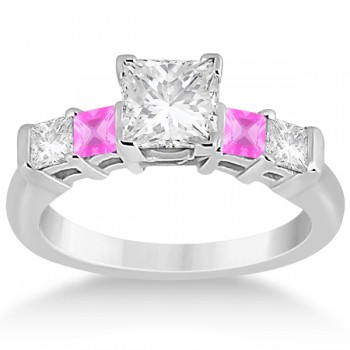 5 Stone Diamond & Pink Sapphire Bridal Set Palladium 1.02ct