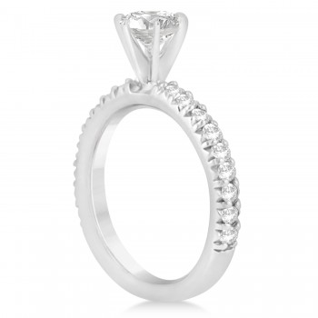 Diamond Accented Engagement Ring Setting 14k White Gold 0.54ct