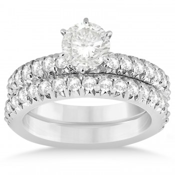 Diamond Accented Bridal Set 14k White Gold 1.14ct