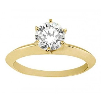 Knife Edge Six-Prong Solitaire Engagement Ring Setting 18k Yellow Gold