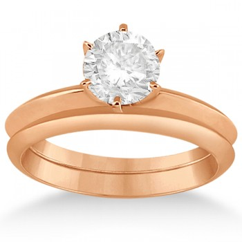 Six-Prong Knife Edge Solitaire Engagement Ring Set 14k Rose Gold