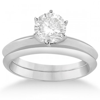 Six-Prong Knife Edge Solitaire Engagement Ring Bridal Set Palladium