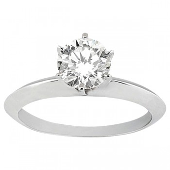 Six-Prong Knife Edge Solitaire Engagement Ring Bridal Set Platinum