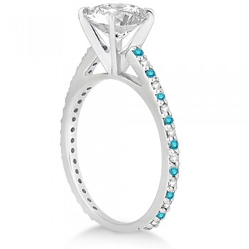 White & Blue Diamond Engagement Ring Pave Set 14K White Gold 0.52ct
