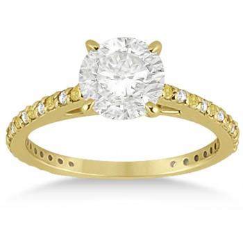 White & Yellow Diamond Engagement Ring Pave Set 14K Yellow Gold 0.52ct