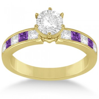 Channel Amethyst & Diamond Engagement Ring 14k Yellow Gold (0.60ct)
