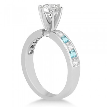 Channel Aquamarine & Diamond Bridal Set Palladium (1.30ct)