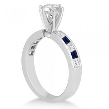 Channel Blue Sapphire & Diamond Bridal Set 14k White Gold (1.30ct)
