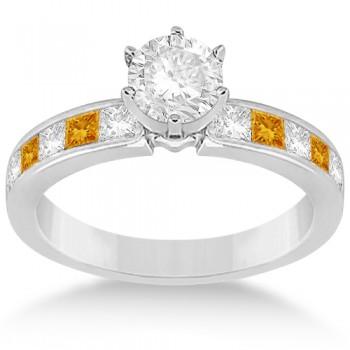 Channel Citrine & Diamond Engagement Ring 18k White Gold (0.60ct)