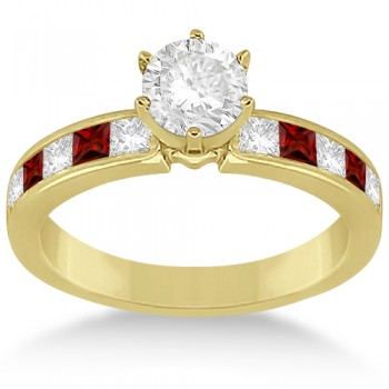 Channel Garnet & Diamond Engagement Ring 18k Yellow Gold (0.60ct)