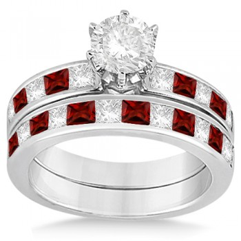 Channel Garnet & Diamond Bridal Set 18k White Gold (1.30ct)