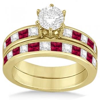 Channel Ruby & Diamond Bridal Set 14k Yellow Gold (1.30ct)