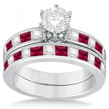 Channel Ruby & Diamond Bridal Set 18k White Gold (1.30ct)