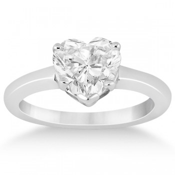 Heart Shaped Solitaire Diamond Engagement Ring Setting 14k White Gold