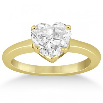 Heart Shaped Solitaire Diamond Engagement Ring Setting in 18k Yellow Gold