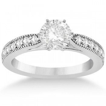 Cathedral Antique Style Engagement Ring 14k White Gold (0.28ct)