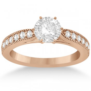 Cathedral Diamond Accented Vintage Bridal Set in 14k Rose Gold (0.62ct)