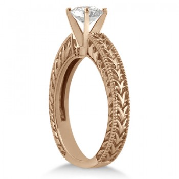 Antique Engraved Solitaire Engagement Ring Setting 14k Rose Gold