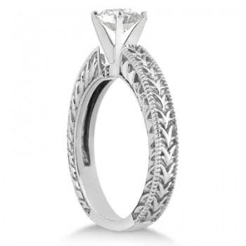 Antique Engraved Solitaire Engagement Ring Setting 18k White Gold