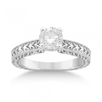 Antique Engraved Solitaire Engagement Ring Setting Palladium