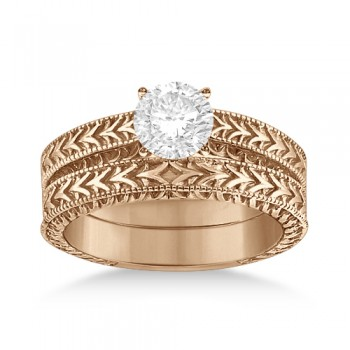Solitaire Engagement Ring & Wedding Band Bridal Set 14k Rose Gold