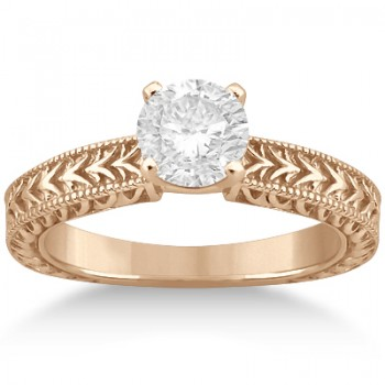 Solitaire Engagement Ring & Wedding Band Bridal Set 18k Rose Gold