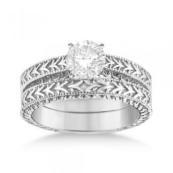 Solitaire Engagement Ring & Wedding Band Bridal Set 18k White Gold