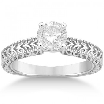 Solitaire Engagement Ring & Wedding Band Bridal Set Platinum