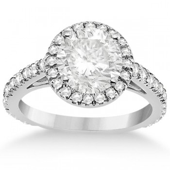 Diamond Bridal Halo Engagement Ring & Wedding Band 14K White Gold (1.30ct)
