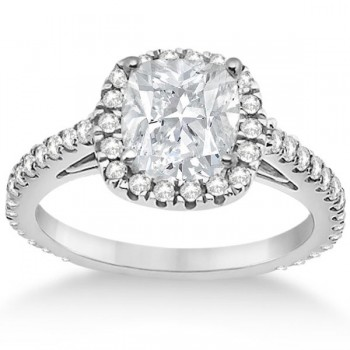 Cathedral Halo Cushion Diamond Engagement Ring