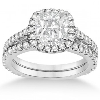 Halo Cushion Diamond Engagement Ring Bridal Set 14k White Gold (1.07ct)