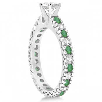 Diamond & Emerald Pave Eternity Engagement Ring 14k White Gold (0.40ct)