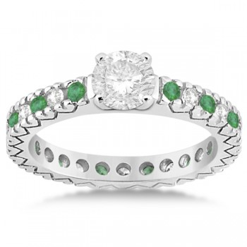 Diamond & Emerald Pave Eternity Bridal Set 14k White Gold (0.85ct)