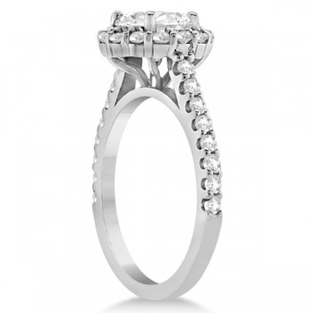 Round Pave Halo Diamond Engagement Ring Setting 14K White Gold (0.74ct)