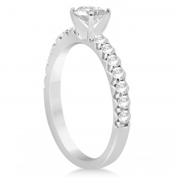 Diamond Accented Engagement Ring Setting 14k White Gold 0.42ct